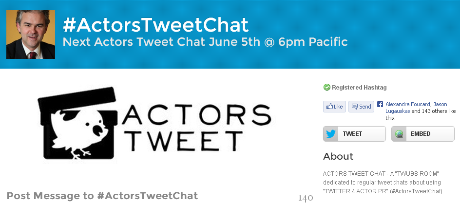 TWITTER CHATS 4 ACTORS (#ActorsTweetChat)